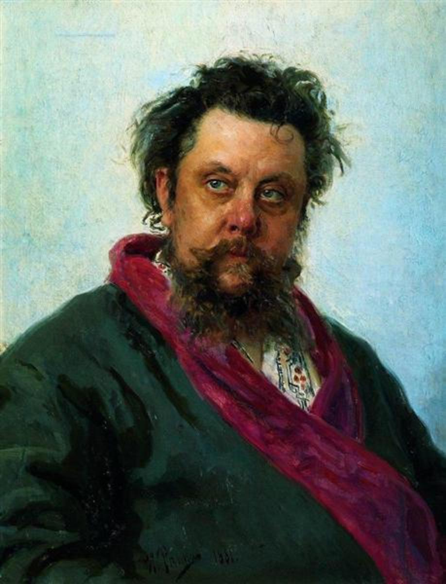 Painting of Mussorgsky by Ilya Repin, just a few days before his death.