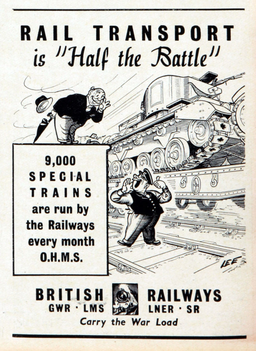 """Rail transport is half the battle won!"" this poster boldly cries out. The chubby City gent with his rolled up brolly and bowler hat would prefer the first class compartment he's used to on his way to Warerloo Station. Tanks come first... sorry mate"