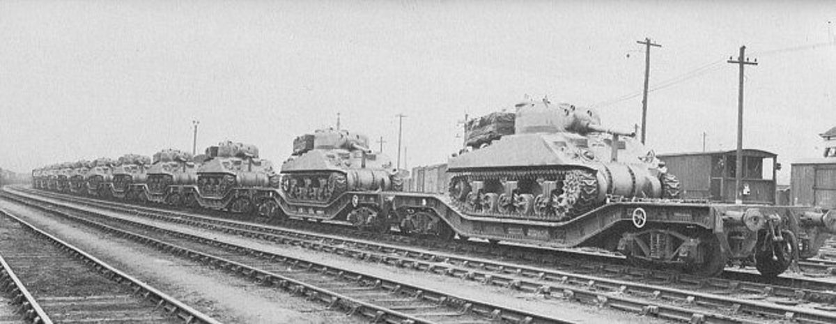 Military 'Warwell' wagons laden with US Sherman tanks for the D-Day landings