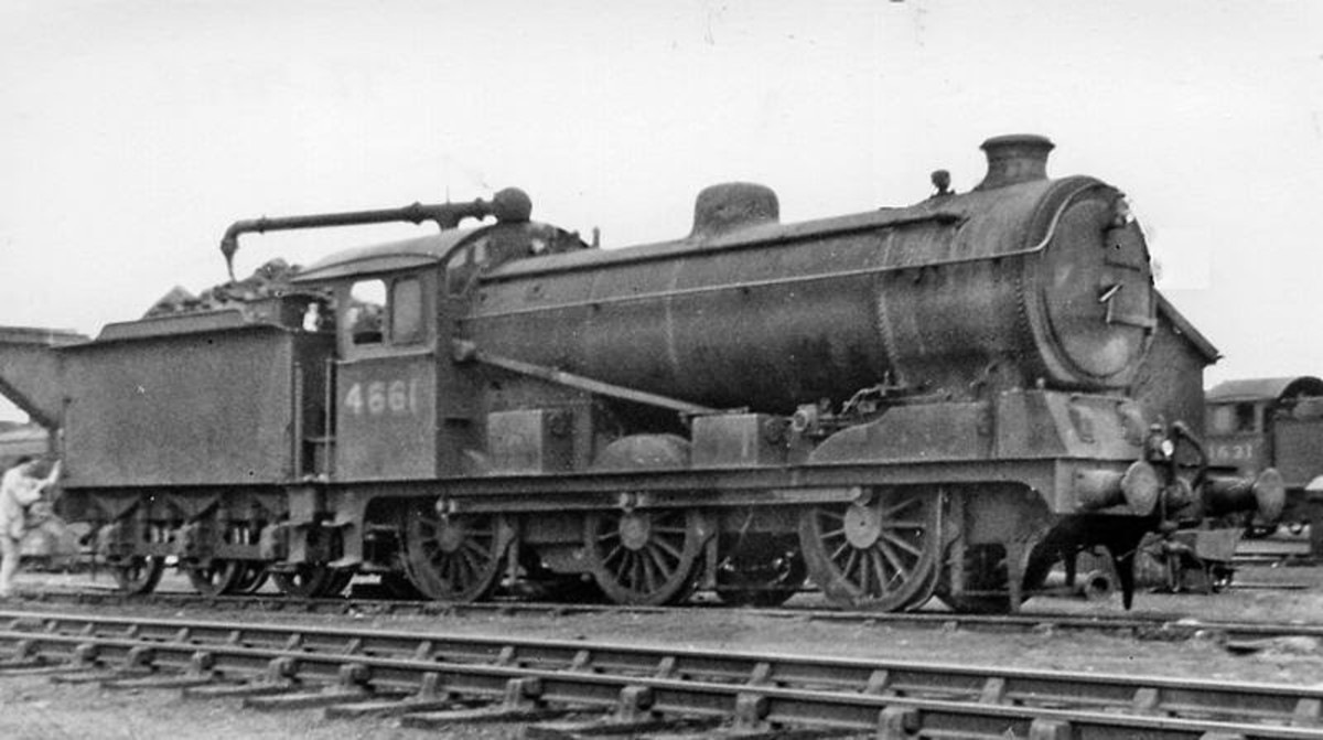 Ex-GER Hill design, rebuilt Class J19 rests between duties at March in Cambrigeshire - a post-war view, it shows the bedraggled state engines reached in service with less attention