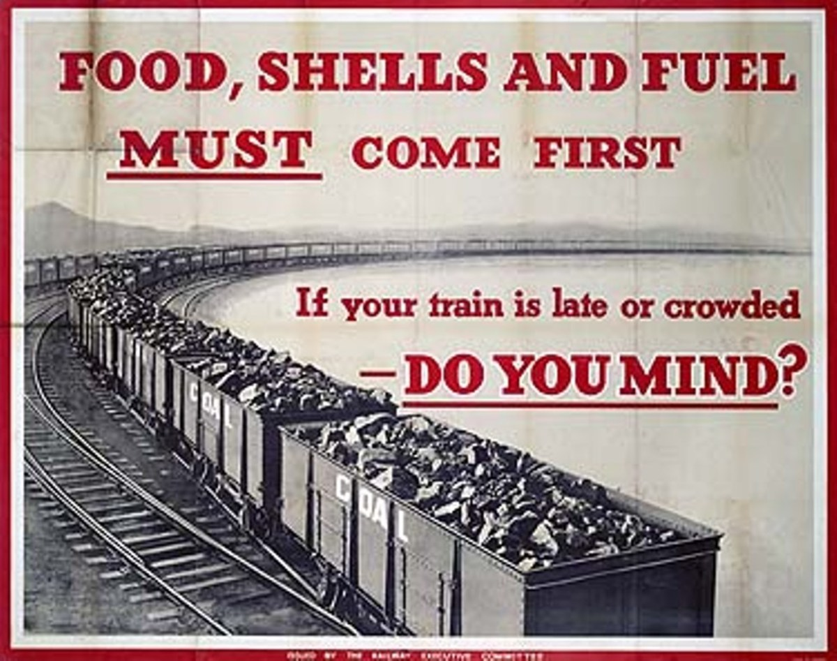 """Food, shells and fuel must come first... do you mind?"" If it shortened the war, most passengers were only too willing to give priority to war traffic"
