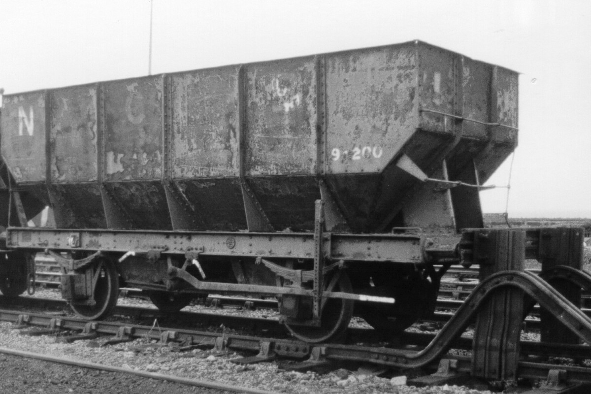 LNER 21 ton steel hopper, introduced from 1936 for conveyance of coal from colliery to riverside or harbour staiths along Northumberland and County Durham coast - transported by rail to London during WWII