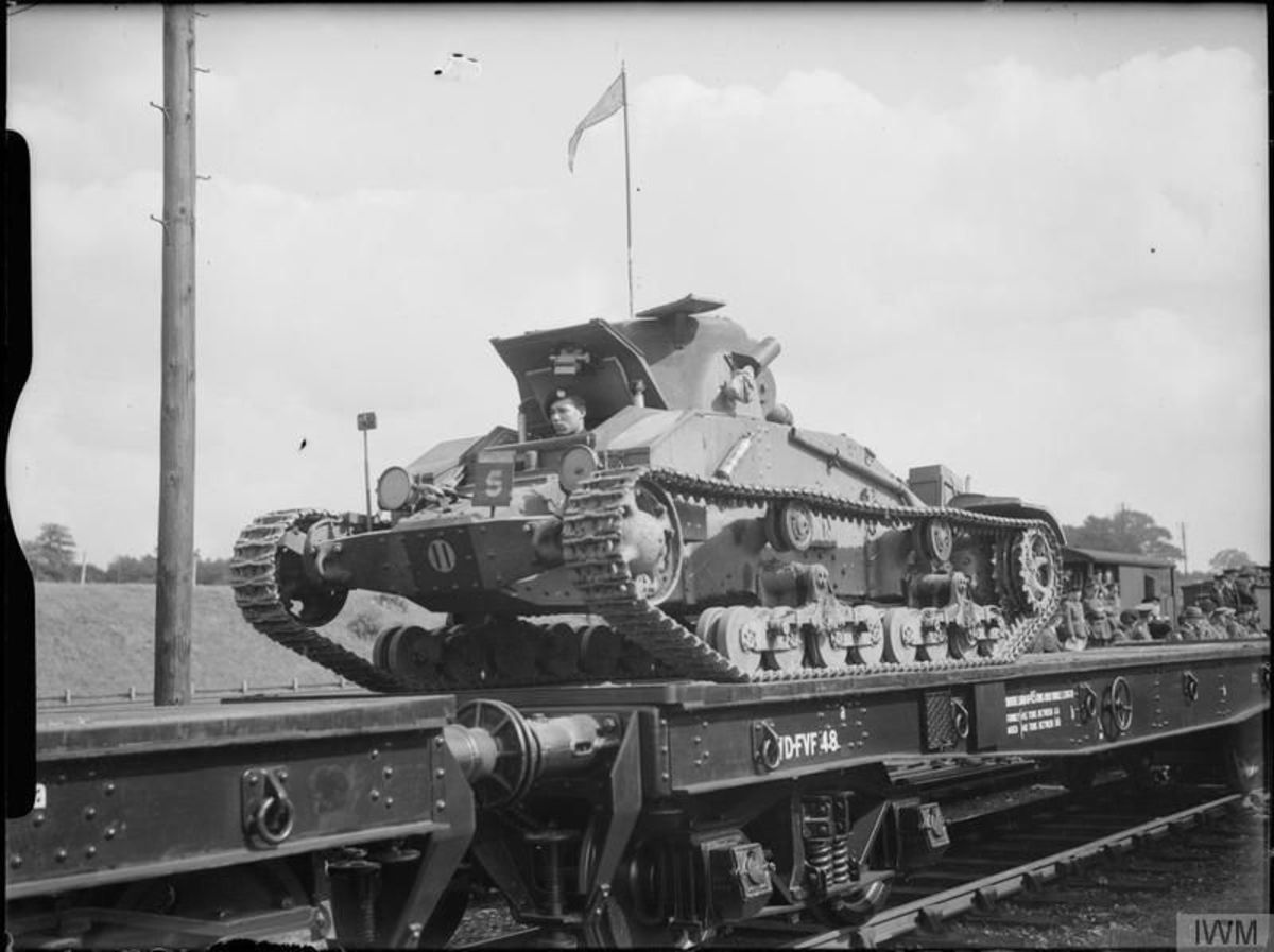 'Warflat' train, nearest wagon laden with Matilda Mk 1 tank of the 1st Armoured Division