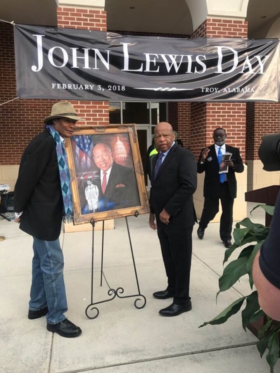 """Dr. Ron presents Congressman and Civil Rights Leader, John Lewis, with a portrait for """"John Lewis Day"""" in Troy, Alabama"""