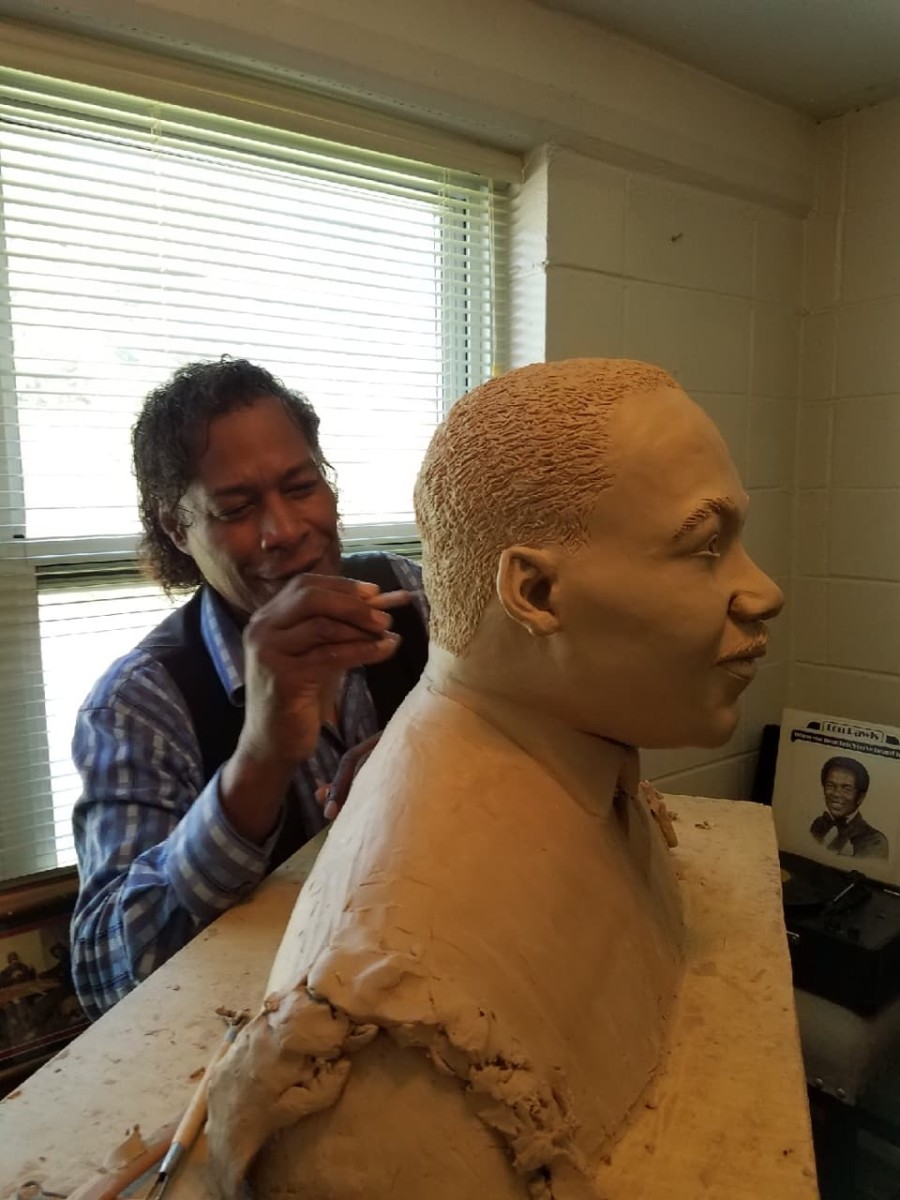 Dr. Ron working on MLK, Jr. Bust