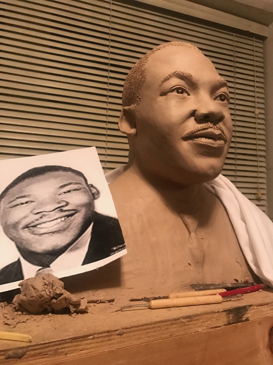 The bust of a young Martin Luther King, Jr. when he was pastor of the Dexter Avenue King Memorial Baptist Church in Montgomery, AL.