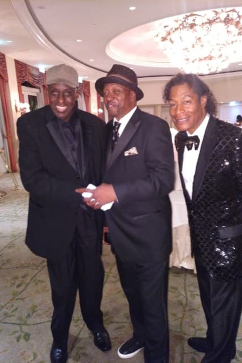 Dr. Ron with Bill Duke whose company, Duke Media, will direct his documentary, and comedian/actor, T.K. Carter, at the 2018 HAL Awards in Beverly Hills.