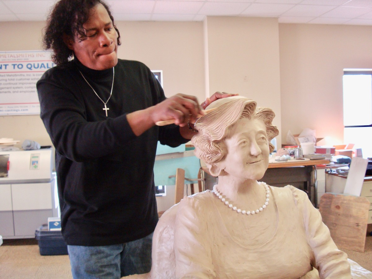 """Dr. Ron hard work on the statue of  """"Miss Nina"""" Miglionico"""