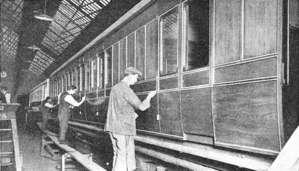 At York carriage works, where once David Bain's NER carriages were assembled, employees finish the varnishing stage on one of the teak pannelled Gresley non-corridor commuter carriages. Carriage building was undertaken at various LNER sites