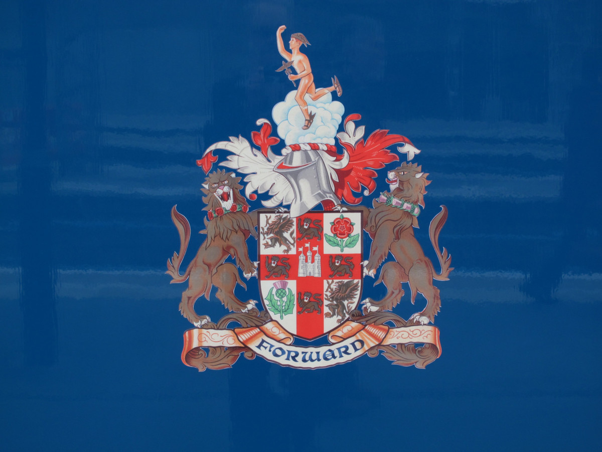 The LNER armorial, the coat of arms that incorporated the effigy of Mercury, messenger to the gods with the rose and thistle of England and Scotland (although the red rose is officially that of Lancaster, not York)