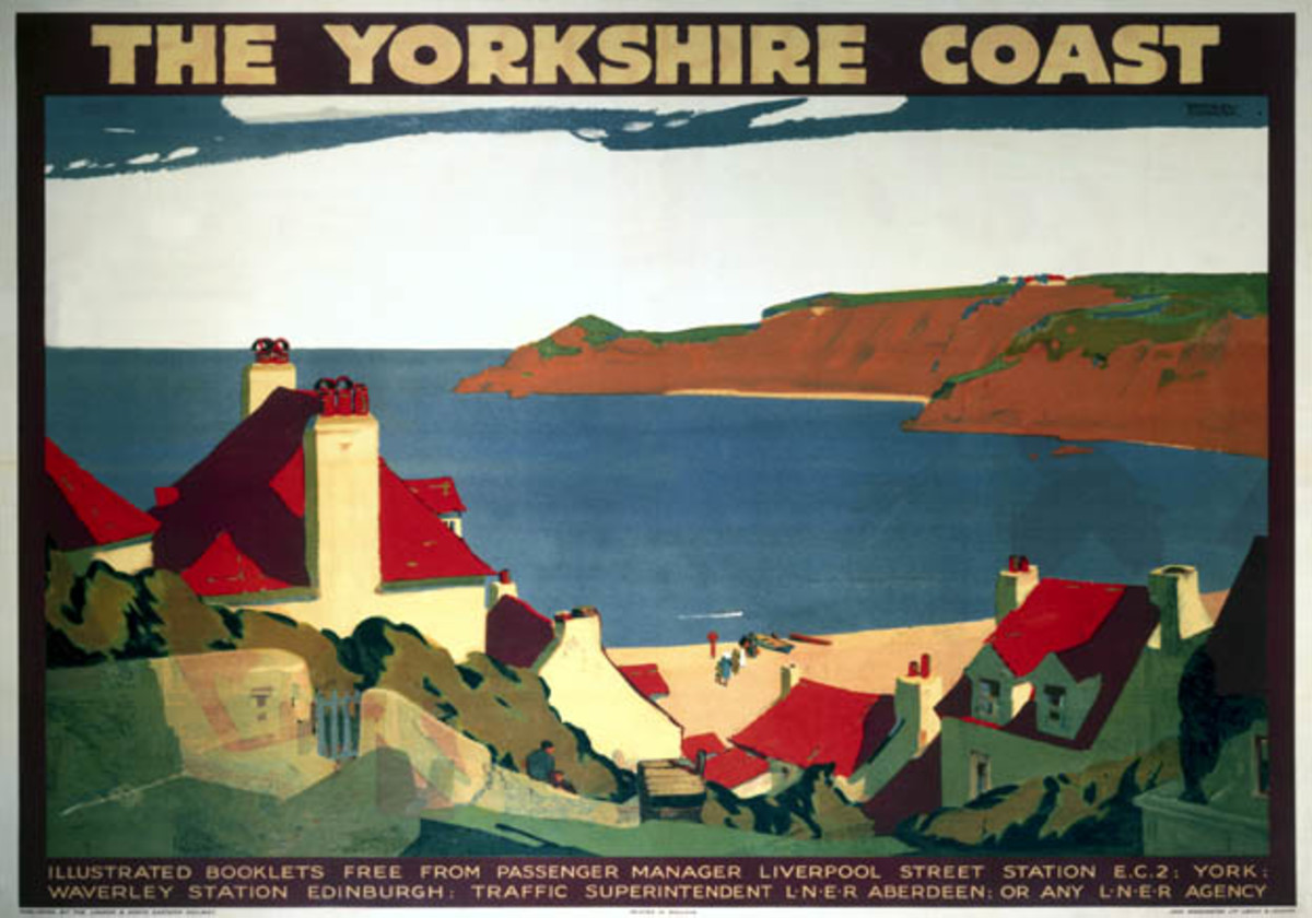 The Yorkshire coast - 1932 poster by Andrew Johnson. Accommodation could be found at farms, bed & breakfasts, hostels or hotels. Beach or hiking holiday? Try Robin Hood's Bay with camping coaches, wide vistas over moor and dales