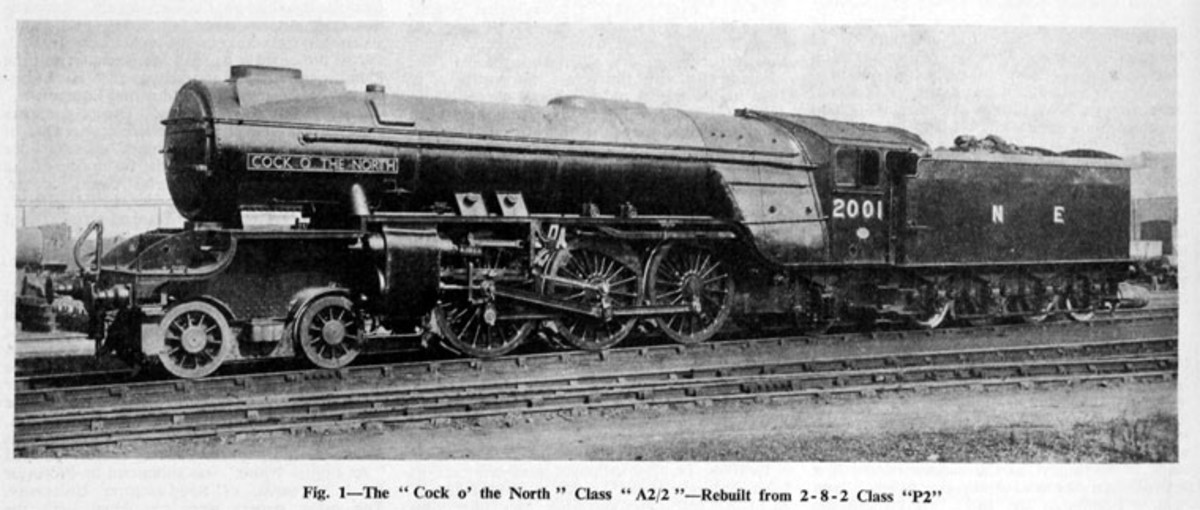 Thompson rebuild of Gresley class P2 2-8-2 seen here as Class A2/2. The wheelbase of the P2 was too long for the curves on the Edinburgh-Aberdeen route, and after rebuilding were allocated on the ECML between London and York