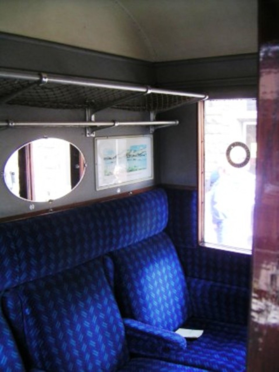 Interior Gresley non-smoking corridor 1st compartment with panorama views and highly chromed mirror frames