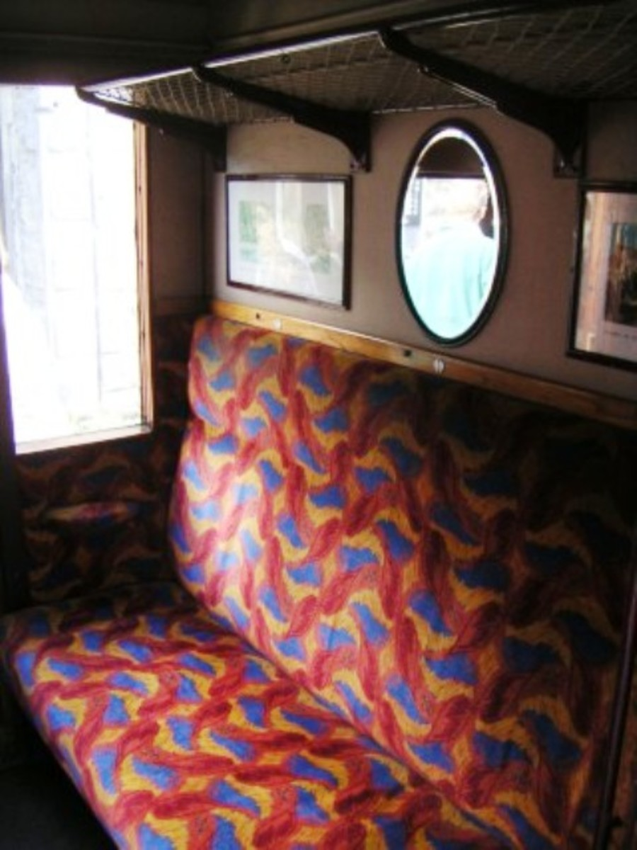 This is one of the 3rd Class smoking compartments, again with views and mirrors. Many of these vehicles have been painstakingly restored by groups on the North Yorkshire Moors andSevern Valley railways