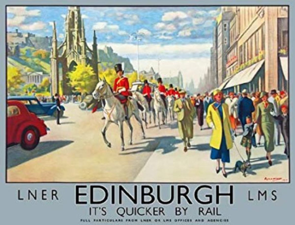 A joint, fanciful LNER, LMSR poster to advertise the attractions of Edinburgh to the well-heeled (few others could afford the hotel prices) showed the pleasant side of the city known to its inhabitants as 'Auld Reekie' - guess why
