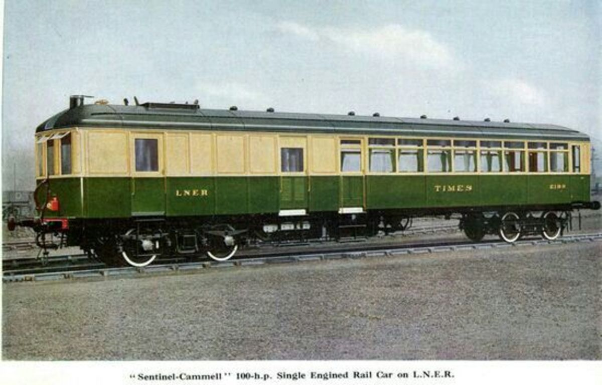 Sentinel and Clayton railcars were introduced in the early LNER years to reduce passenger running costs on branch lines - prone to breaking down, unable to pull much in the way of goods or milk vans, some were replaced by steam adapted for push-pull