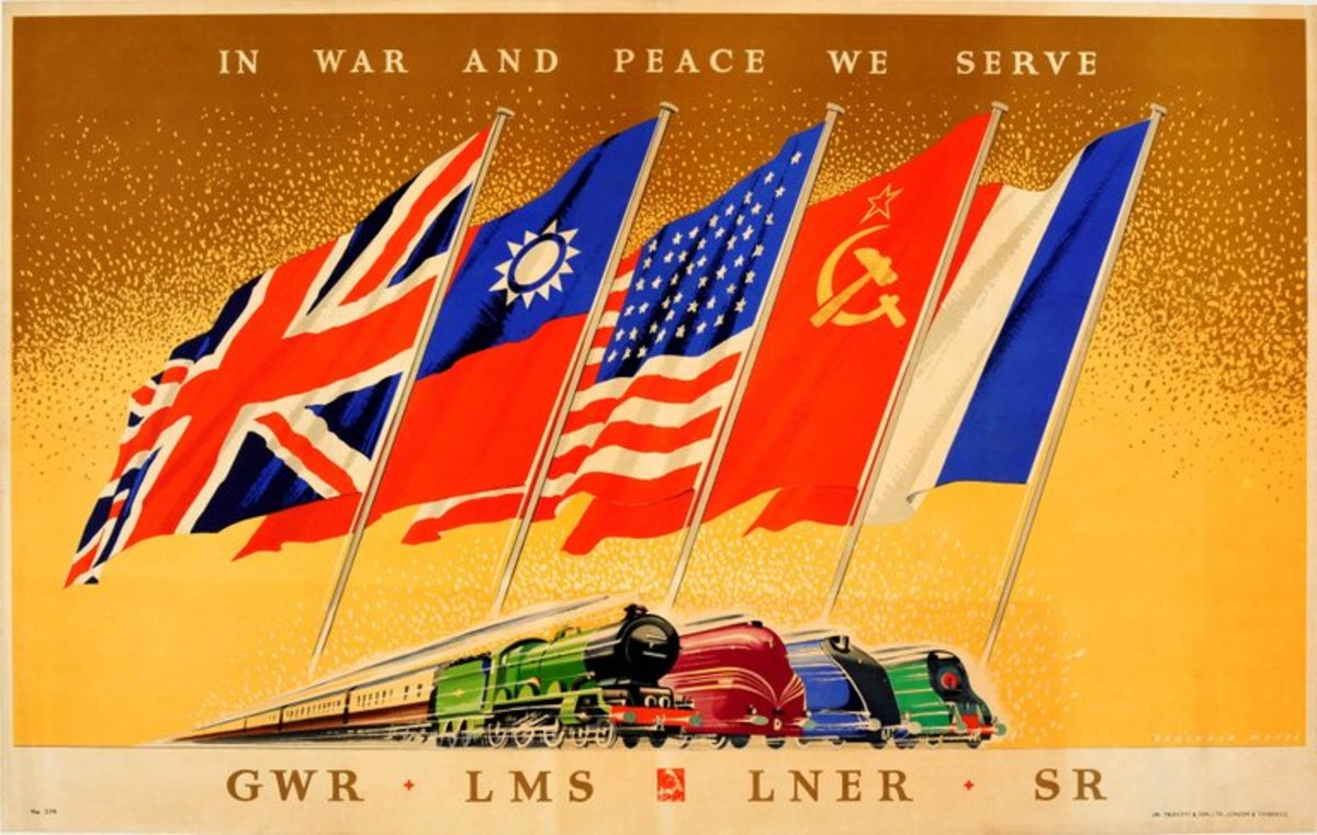 An ambitious wartime poster, 'In War And Peace' displays the flags of the Allies  -were we to expect the Nationalist Chinese and Soviet Russians to travel on Britain's war-torn railway system?