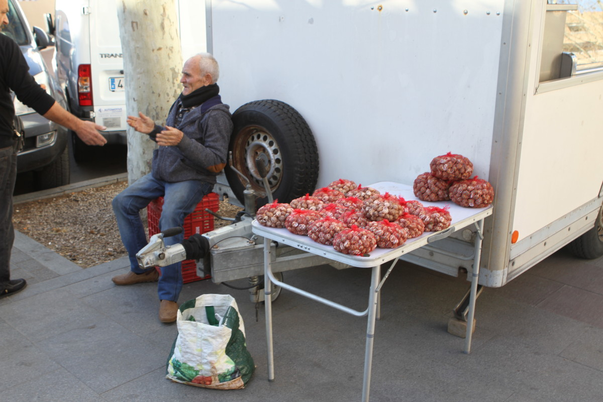 The bags are of small snails -a traditional ingredient of Paellas