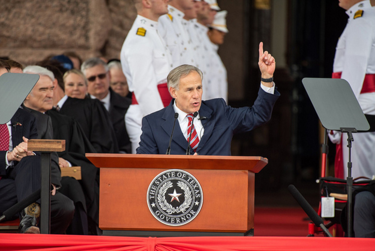Governor Greg Abbott delivering his second inaugural address on January 15, 2019 after easily winning re-election with 55.8% of the votes in November 2018