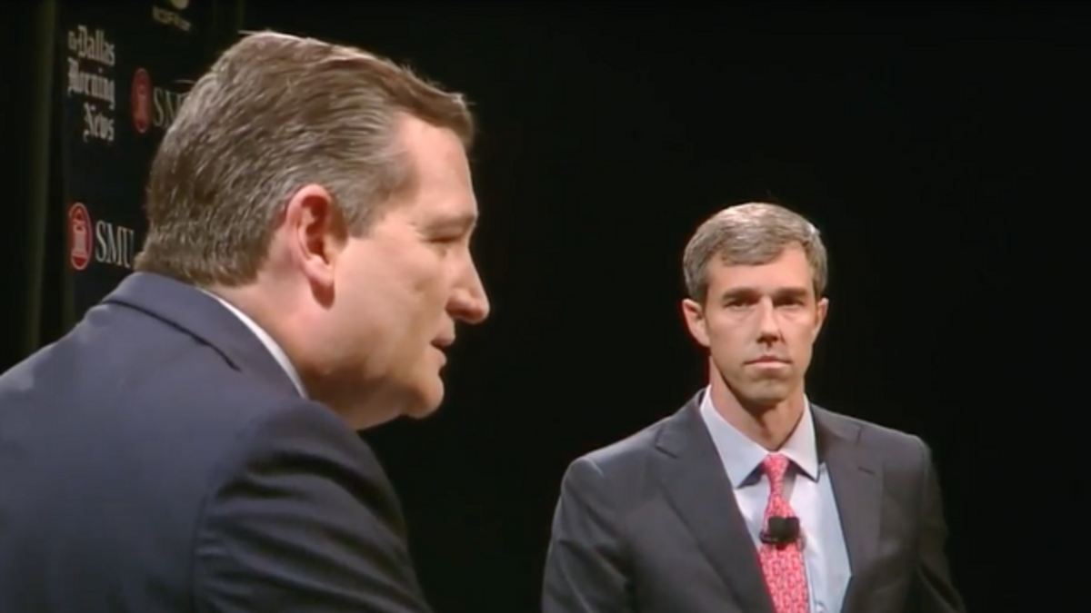 Senator Ted Cruz (left) and Congressman Beto O'Rourke (right) during the first Texas Senate debate.