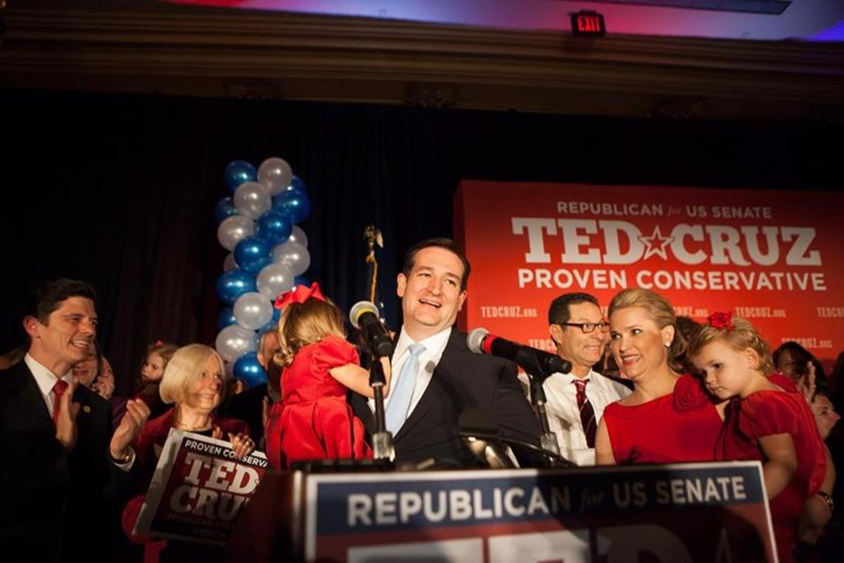 Senator-elect Ted Cruz announcing his victory in the Texas Senate race in 2012