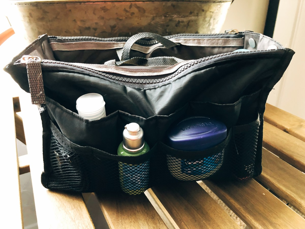 Toiletries bag is very crucial to me. Since it has many compartments, I can put the bathroom items inside. Every time I need to go to the bathroom I will bring this bag with me.