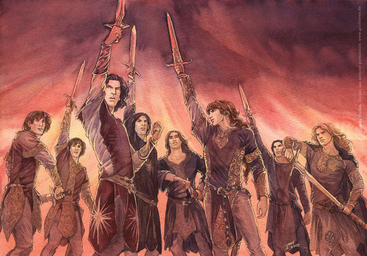 By artist Jenny Dolfen.  The declaration of the Oath byt Feanor and his sons was followed by an violent urge by many of the hot-blooded Noldor to return to Middle-earth in rebellion. However it also show cases Finarfin's own power of persuasion.