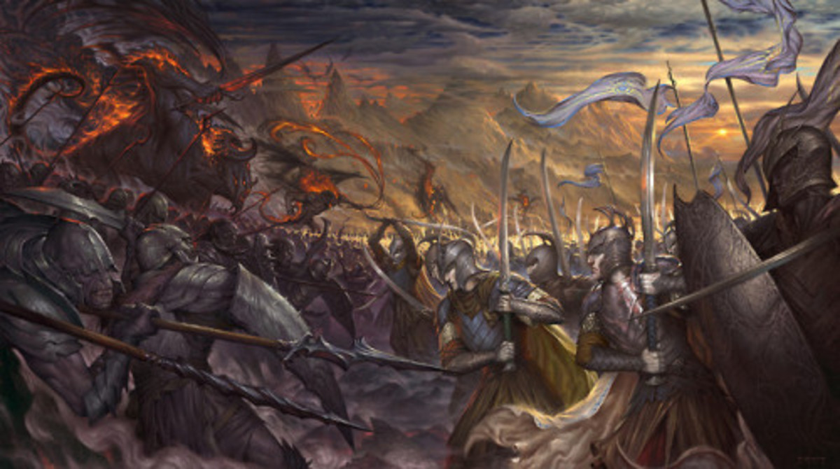 Artist: Firat Solhan Title: War of Wrath.  The final conflict of an Ages' long conflict between the Valar and their evil kin would have been personal to Finarfin.  Finally following his brothers' lead to end their father's killer.
