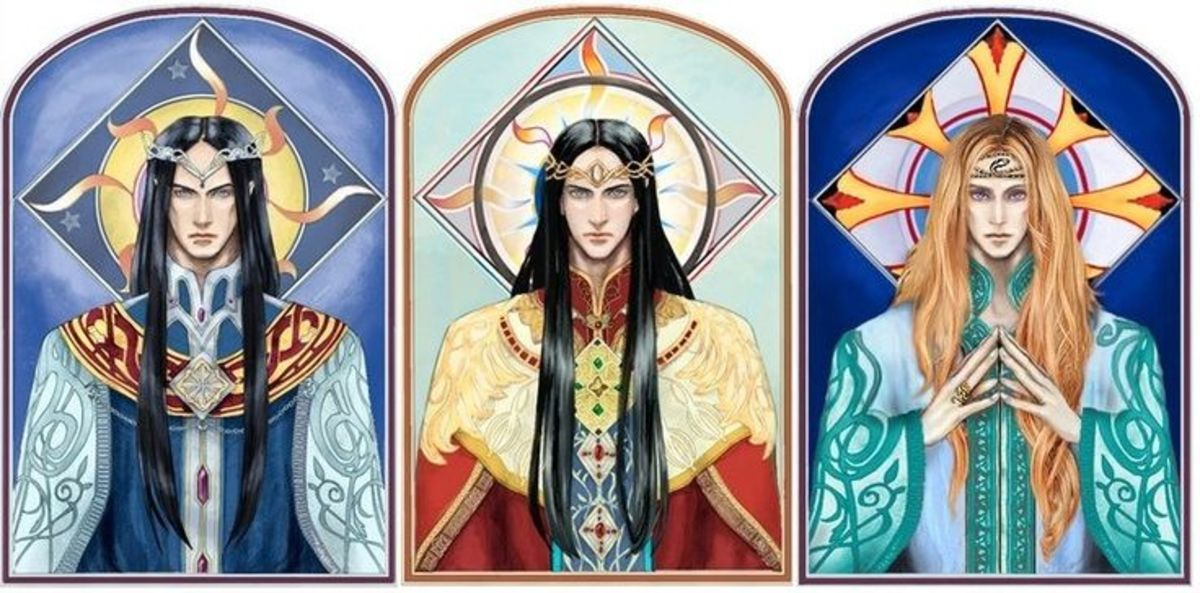 By artist daLomacchi.  The sons of High King FInwe, Fingolfin, Feanor, and Finarfin respectively.  All became High King at one point but only Finarfin survived the office.