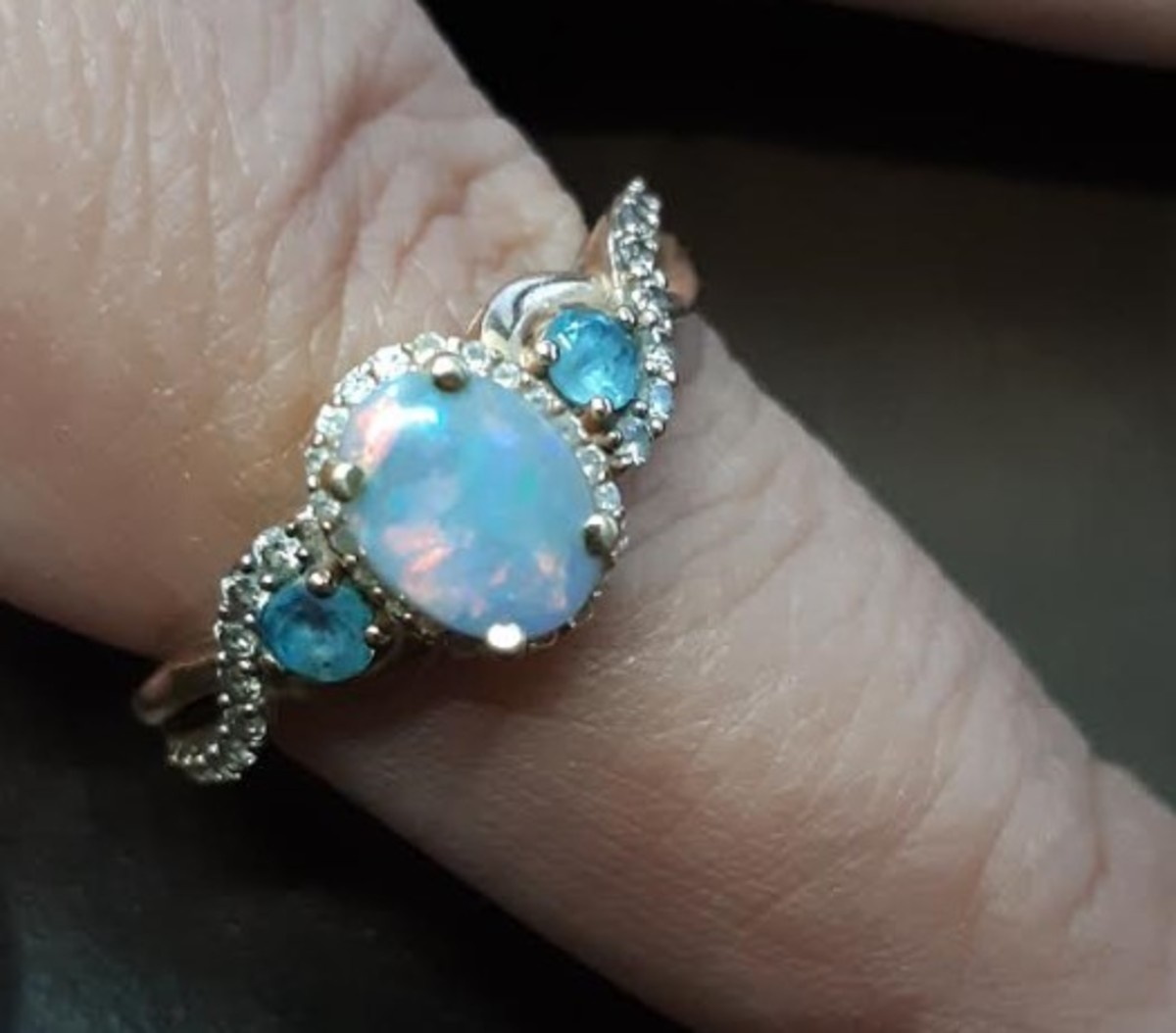 My own ring after removing the Neopolitan Opal and adding the Lightning Ridge Opal.