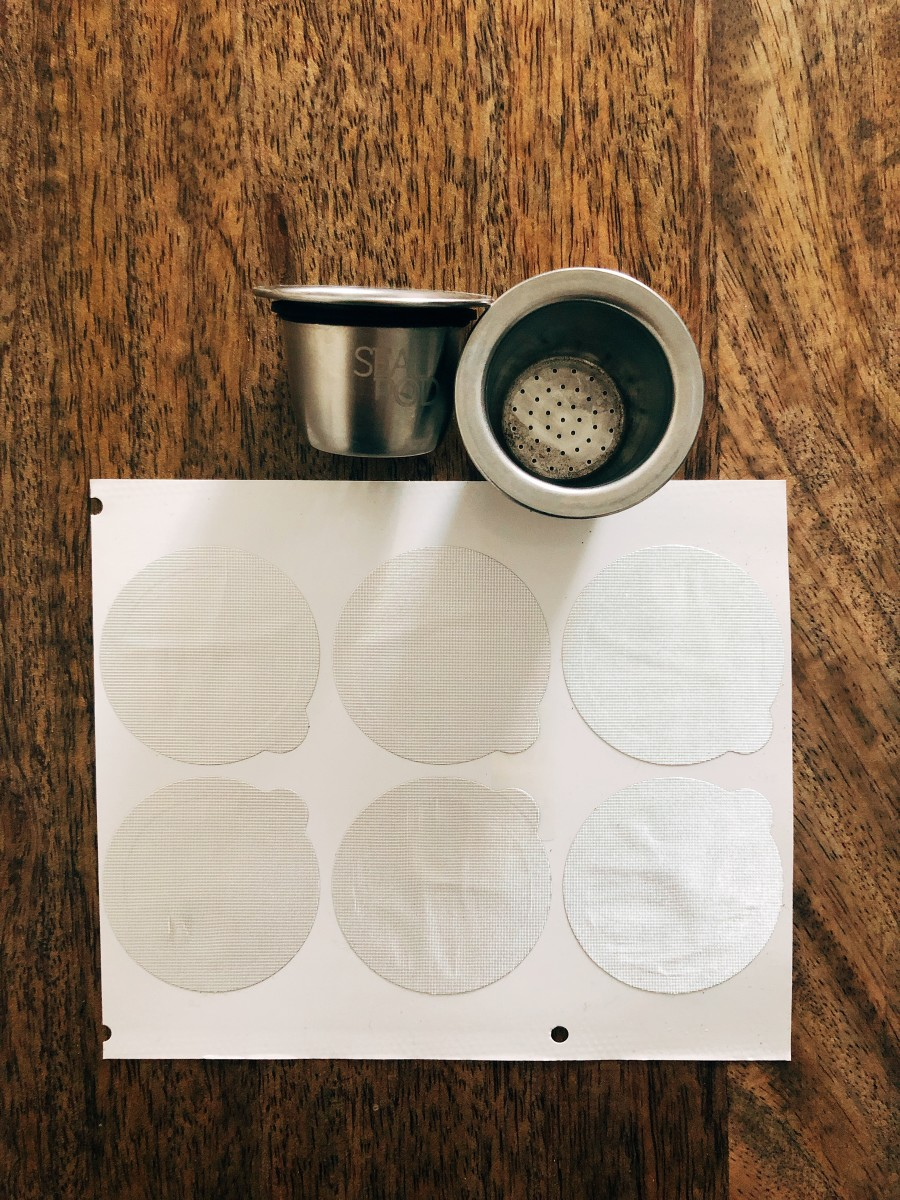 The re-usable coffee pods and stickers for Nespresso machine.