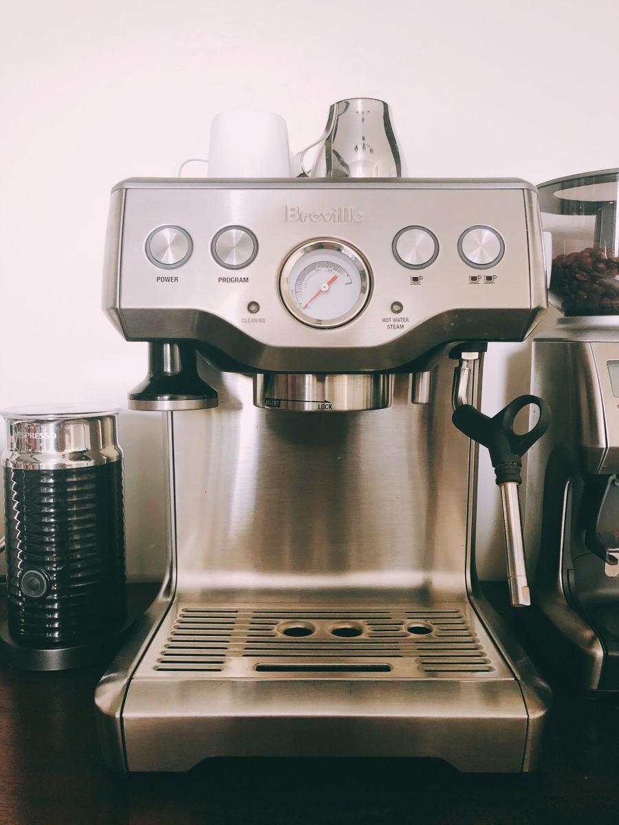 The Breville espresso maker for a good cup of cappuccino,espresso, and latte.