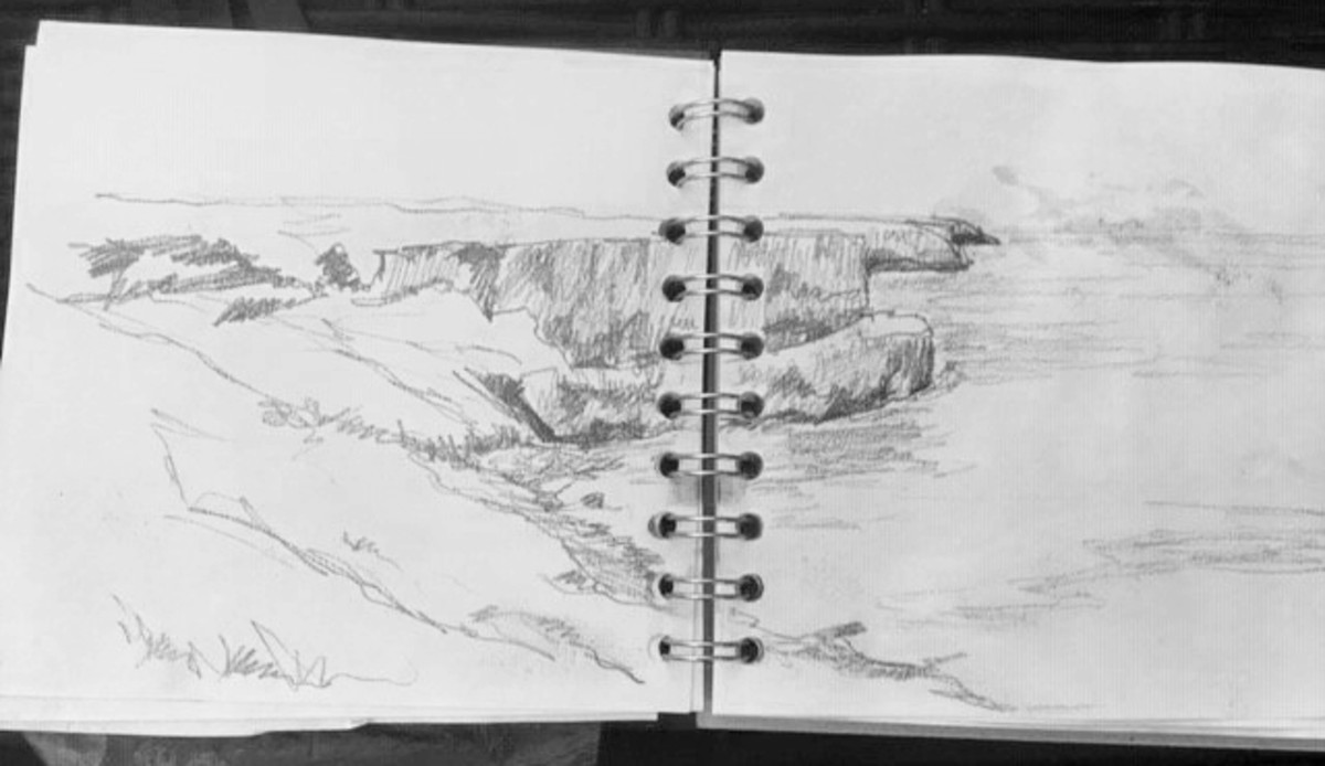 Keeping a sketchbook with you is a great idea to develop skills and to gather visual sources to develop into paintings or studio drawings later.