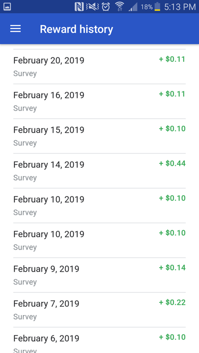 As you can see, you don't get much for the surveys, but you get a few of them frequently and who doesn't love only spending 3 seconds to earn 10 cents or more.