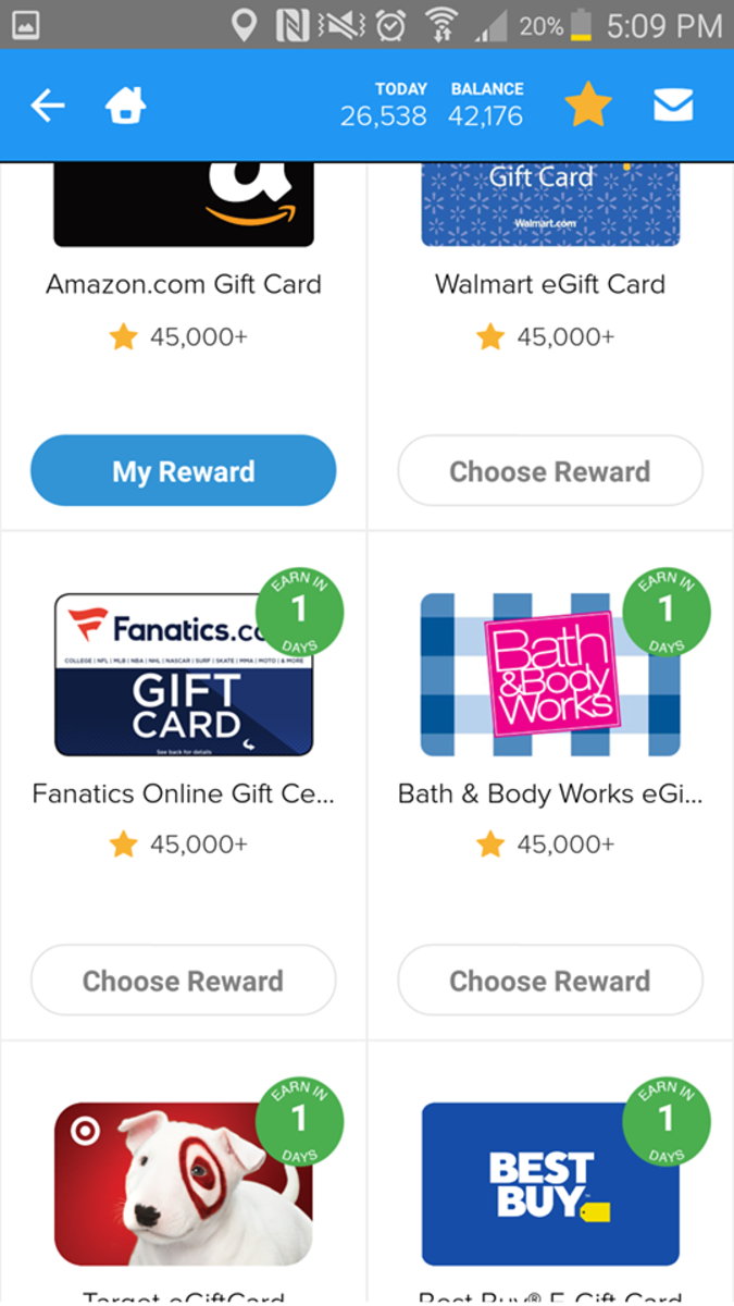 These are a few of the gift cards you can redeem through Rewarded Play.