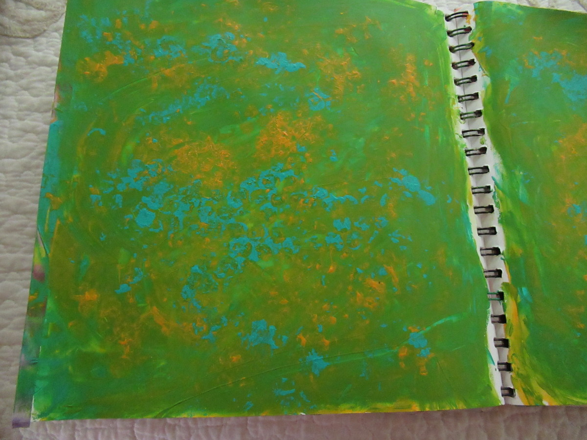 Simple finger painted background with three colors