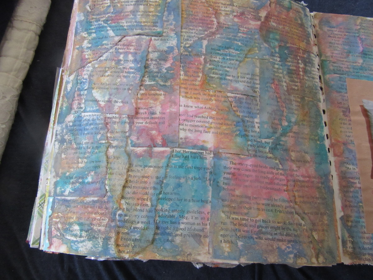 Old book pages glued to an art journal page, then add some color with paints