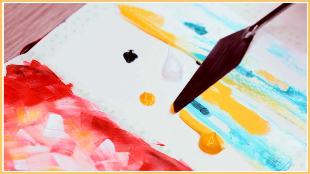 Paint what you feel. It can be just random bits of paints, streaks, blobs, dots or whatever comes to mind at that moment