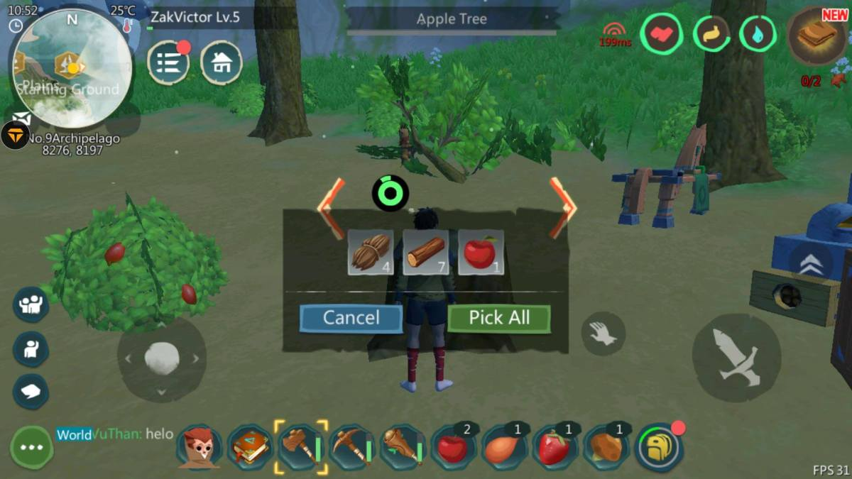 Gathering Materials by Cutting an Apple Tree