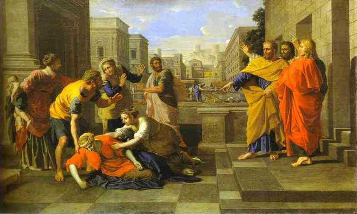 Sapphira is the wife of Ananias, member of the first Christian community of Jerusalem. The couple sells a plot of land and pretend to lay the full proceeds at the feet of the apostles. Peter sees through the deception and the couple are struck down.
