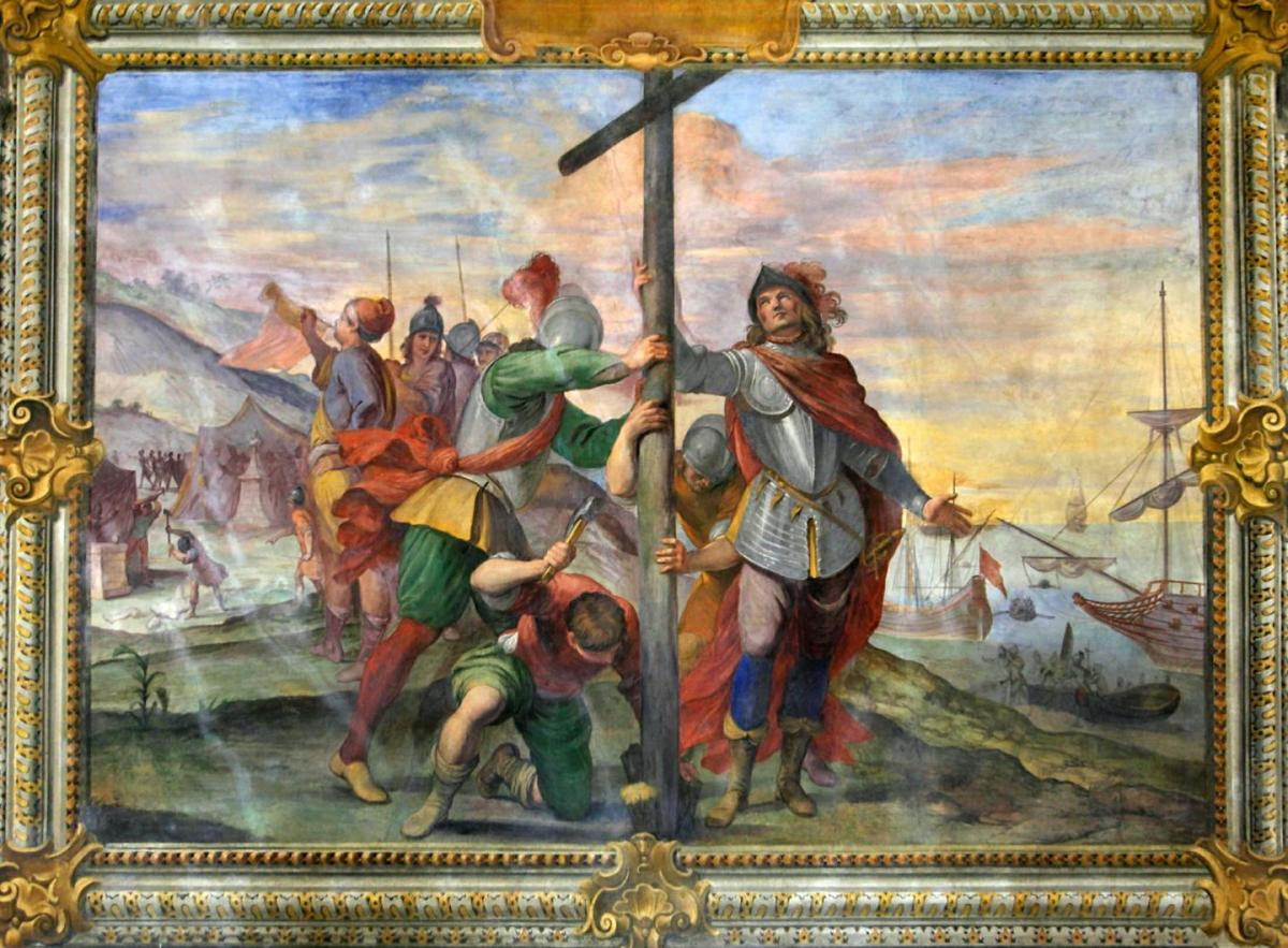 Columbus Plants a Cross in the New World