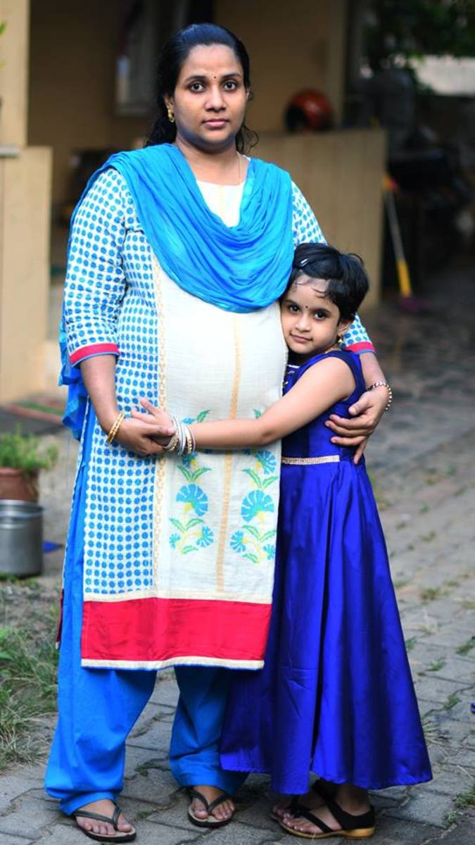 Author during her 7th month of Pregnancy, with her elder daughter Anna