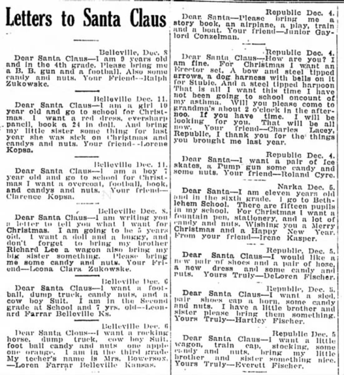 Newspapers printed children's letters to Santa. Sometimes a kindly person would read these and get some of the gifts for the children.  This is fromThe Belleville Telescope  Belleville, Kansas 18 Dec 1930, Thu  •  Page 1