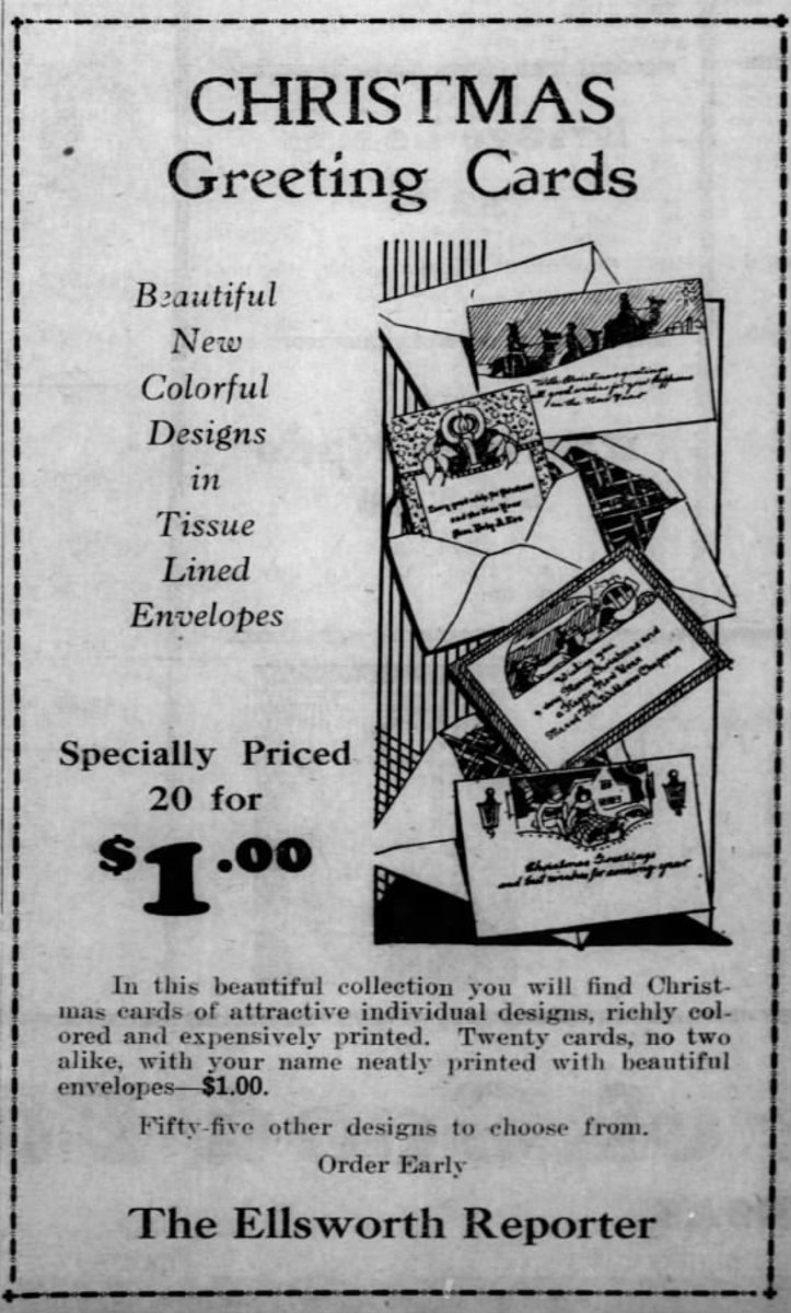 Advertisement from the Ellsworth Reporter - Kansas 11 Dec 1930, Thu  •  Page 14.  You could even get your name printed on them for that price. The price of a first-class stamp was 2 cents but later in the decade, it went up to 3 cents.