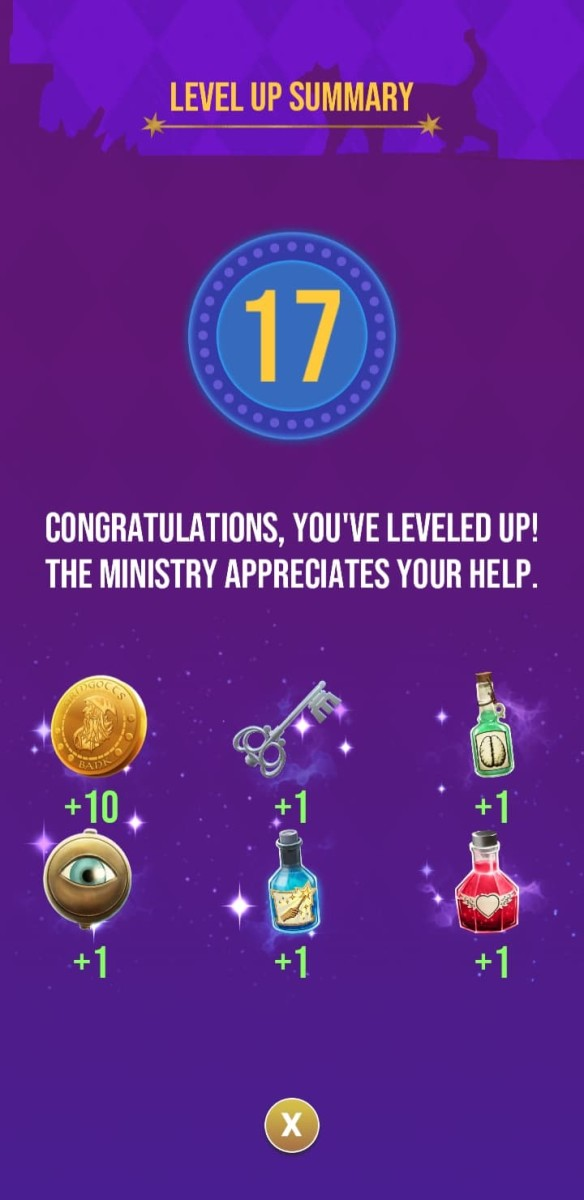 The rewards the player receives for reaching level 17