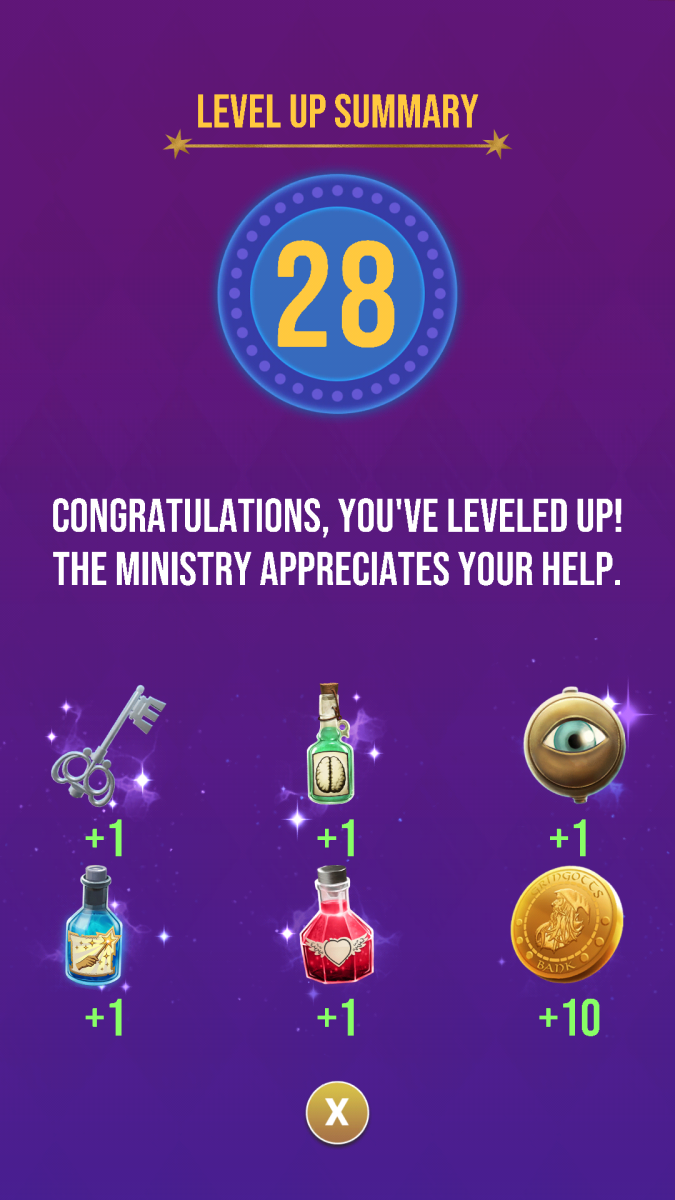 The rewards the player receives for reaching level 28