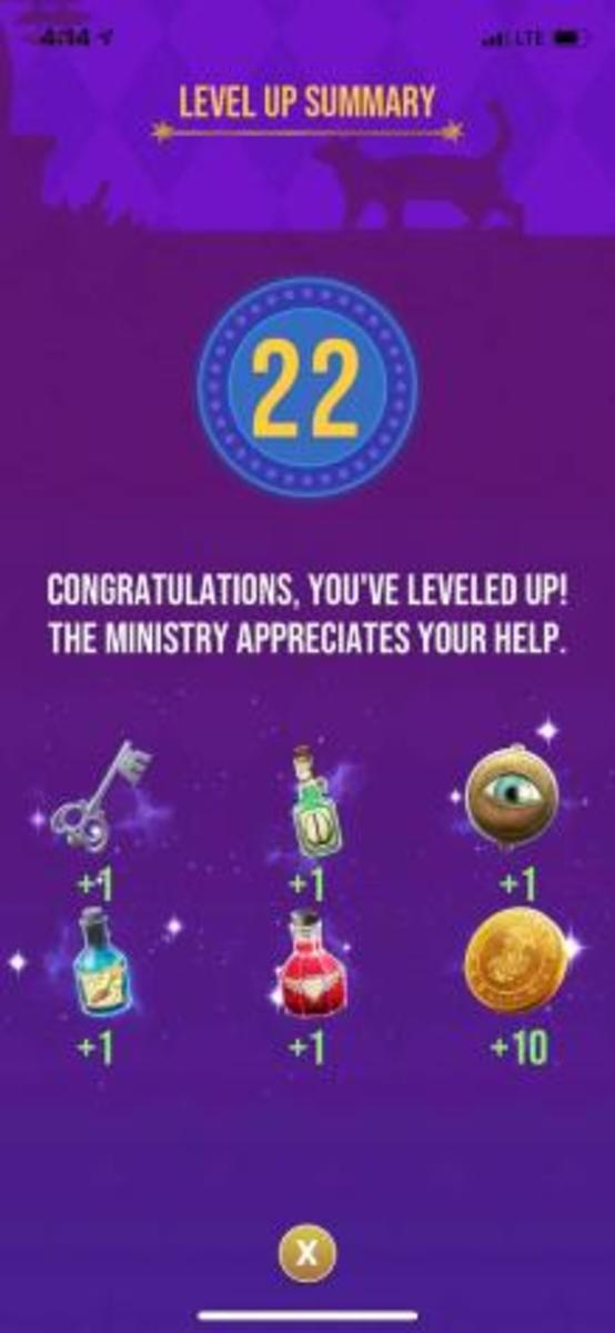 The rewards the player receives for reaching level 22