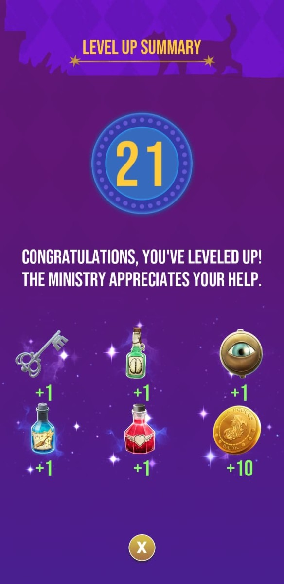 The rewards the player receives for reaching level 21