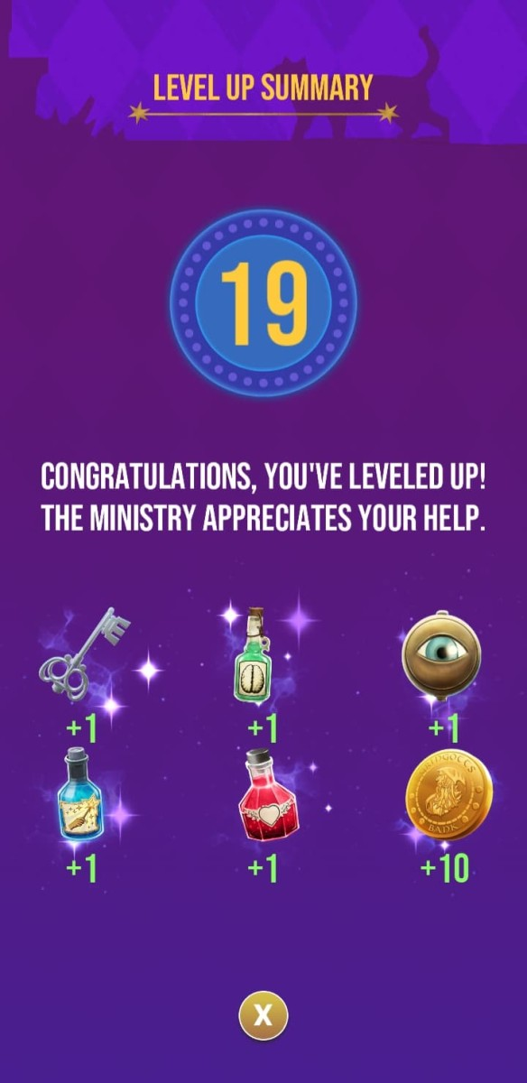 The rewards the player receives for reaching level 19