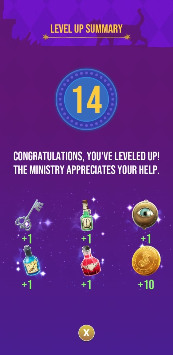The rewards the player receives for reaching level 14